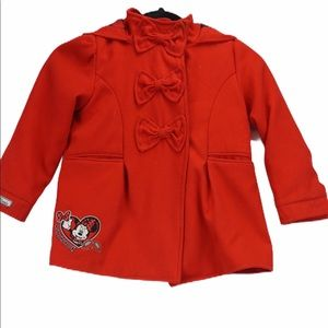 Disney girls red Minnie Mouse pea coat